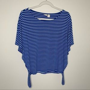 Chico's Striped Tee Side Tie Dolman Sleeve